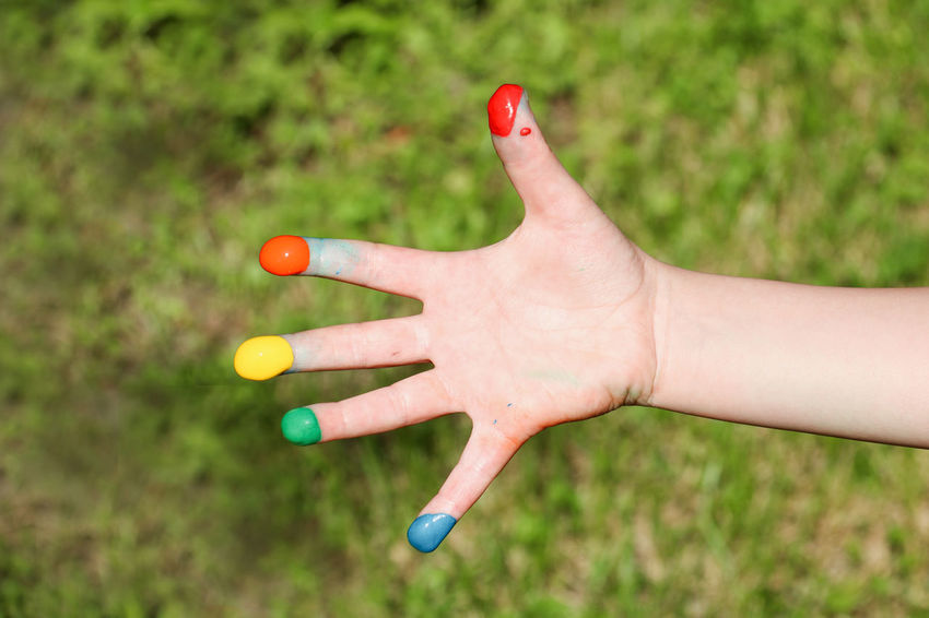 colors of rainbow Close-up Colorful Colors Day Five Fingers Focus On Foreground Human Body Part Human Finger Human Hand Leisure Activity One Person Outdoors Palm People Real People Women