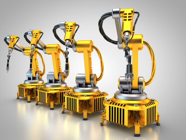 robotic arms form a line 3D 3d Rendering Industrial Industry Industry 4.0 Rendering Robot Robotic Robotic Arm Robotic Arms Robotics Robots Tech Technology Yellow