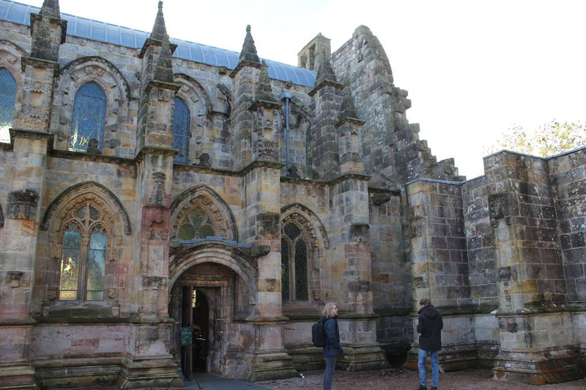 Arch Architecture Building Exterior Built Structure City Clear Sky Day Edinburgh Large Group Of People Leisure Activity Lifestyles Men Outdoors People Place Of Worship Real People Rosslyn Chapel Scotland Sky Tourism Travel Destinations Women