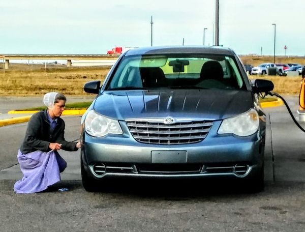 Car Transportation Full Length Only Women Adult Adults Only People One Person Outdoors Day One Woman Only Sky Portrait Young Adult Gas Station Amish In America Safe Travels! EyeEm Gallery Irwin Collection Thanksgiving Travels I-70