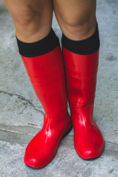 Prepared! Close-up Color Day Legs Legs_only Low Section One Person Outdoors People Real People Red Rubber Boots