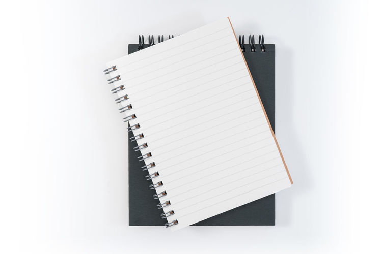 Spiral Notebook White Background Note Pad Book Studio Shot Paper Publication Copy Space Blank Indoors  Spiral No People Still Life Pen Page Education Close-up White Color Office Supply Cut Out Message