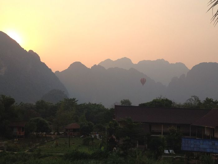 Beauty In Nature Growth Hill Idyllic Landscape Laos Mountain Mountain Range Nature No People Non-urban Scene Outdoors Remote Scenics Sky Sunset Tranquil Scene Tranquility Tree Vang Vieng