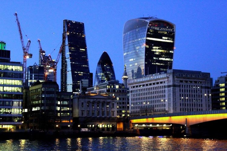 London Lifestyle Architecture Building Exterior City Built Structure Skyscraper Water Modern Waterfront No People Illuminated Outdoors Urban Skyline Low Angle View Clear Sky Sky Nautical Vessel Cityscape Night
