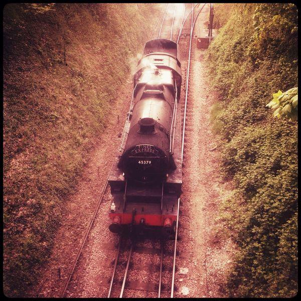 Steam train locomotive strainer black 5 number 45379 on the Watercress line, Alresford, Hampshire, England Alresford steam train Watercress Line mid- hants railway Trains