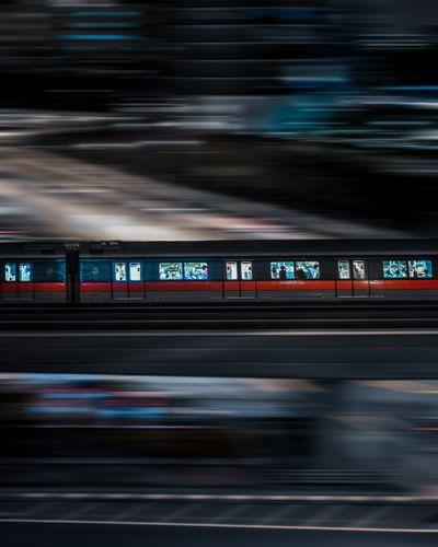 Singapore MRT Train Sg Singapore Mrt Panning Train Motion Blurred Motion Transportation Speed Night Illuminated on the move Street City