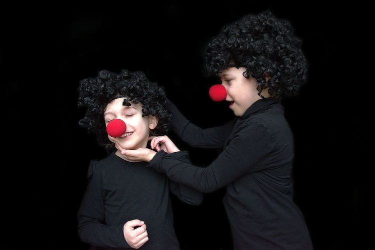 Red Brothers Family Elementary Age Boys Boys Will Be Boys Human Hand Black Background Friendship Child Togetherness Curly Hair Human Back Clown Circus Mime Preschooler Children This Is Family Visual Creativity The Portraitist - 2018 EyeEm Awards Creative Space
