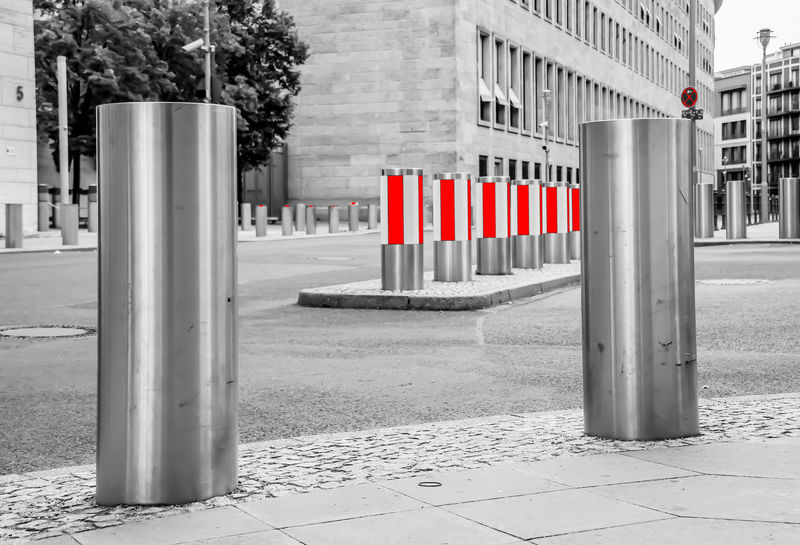 stop Black Mitte Red Schwarz Sign Street Weird White City Architectural Column Bollard No People In A Row Striped Barrier Post Security Safety Boundary Footpath