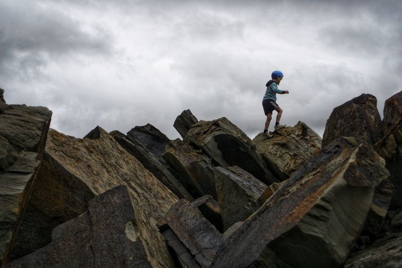 Adventure Cloud - Sky Full Length Sky People Leisure Activity Lifestyles Real People Nature Day Low Angle View Adventure Activity Hiking Outdoors Rock A New Perspective On Life