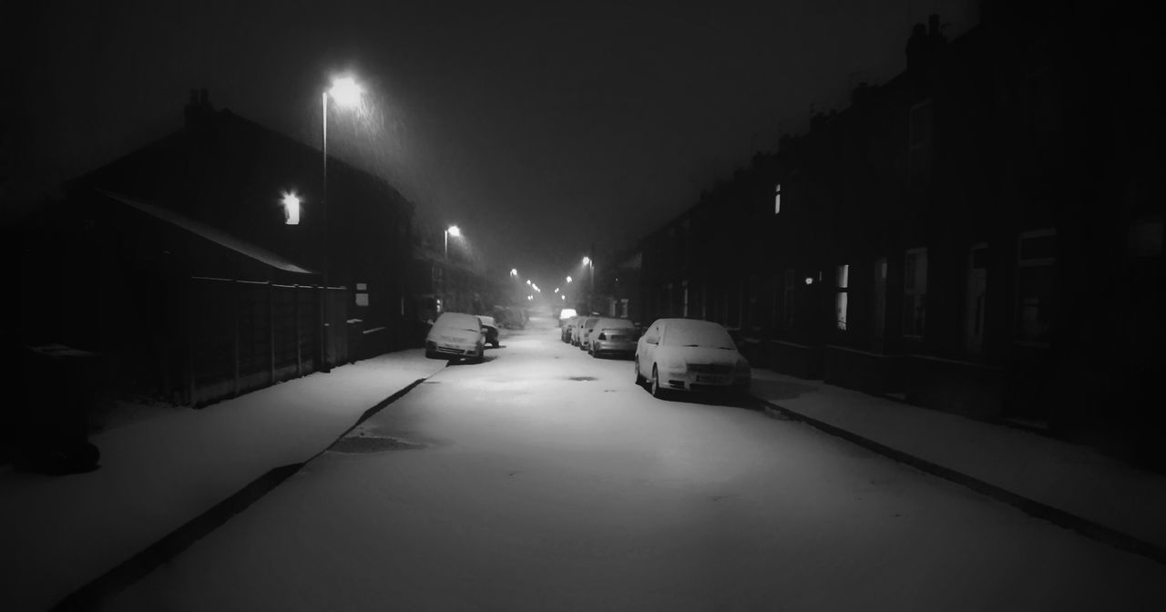 A Winter's night on my street in Manchester Malephotographerofthemonth monochrome photography Blackandwhite Photography Creative Light and Shadow Streets Of Manchester Creative Photography Street Photography Black & White Photography Winterscapes Night Winter Car Illuminated Cold Temperature Snow Indoors  No People