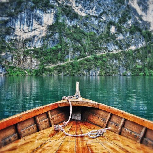 Boat newbie Boat Pragserwildsee Prags Südtirol braies rowing wood water reflection outdoor lake nature blue wood prow rowboat
