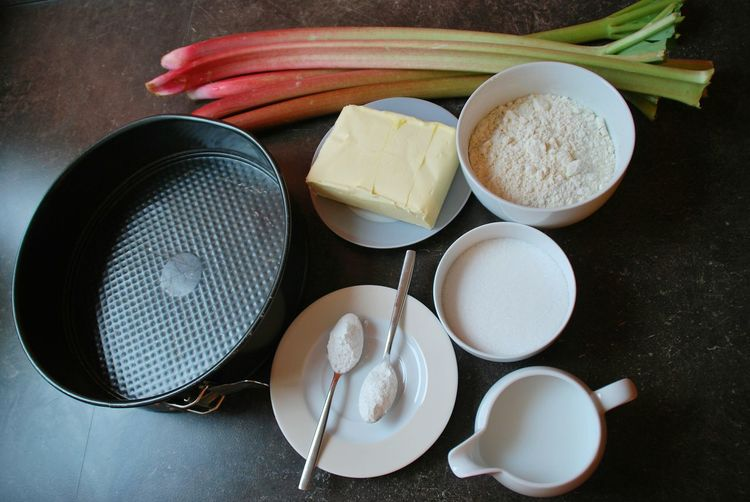 High angle view of ingredients for baking rhubarb cake