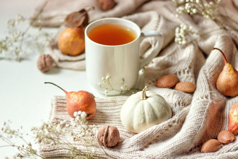 warm tea cup and pears Pumpkin Food Photography Still Life Minimalism Minimal Flatlay Food Breakfast Mug Foodlovers Tea Tea Time Fall Mood White Vibe Good Vibes Autumn Mood Ingredient Food And Drink Cinnamon Hazelnut Walnut Nut - Food Nutshell Almond Served