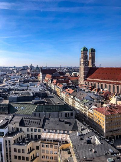 Munich from Alte Peter Marienplatz Munich Munich, Germany München Germany Deustchland Bayern Architecture Built Structure Building Exterior Sky City Building High Angle View Cityscape Nature Residential District Day Crowd Sunlight Town Outdoors Cloud - Sky Roof Crowded