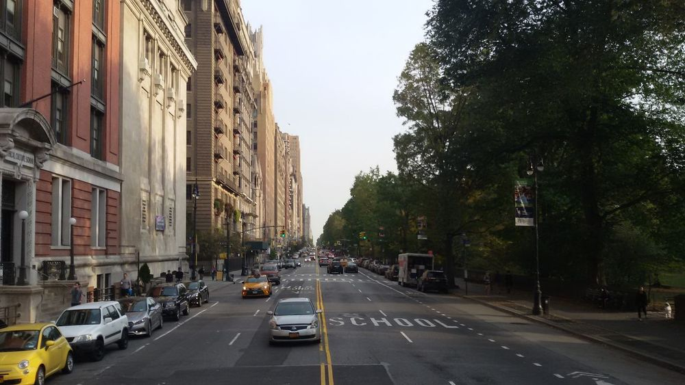 Street City Street Near Central Park New York Day Travel Samsungphotography No Traffic Jam Morning Light Building And Trees One Side Building Other Side Trees