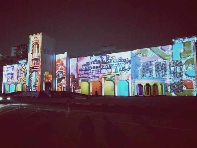 Sharjah Light festival at Sharjah theatre.. Graffiti Street Art Architecture Night Arts Culture And Entertainment Architecture