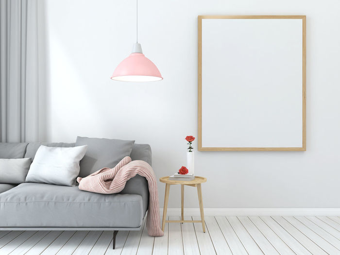 Electric lamp on sofa at home