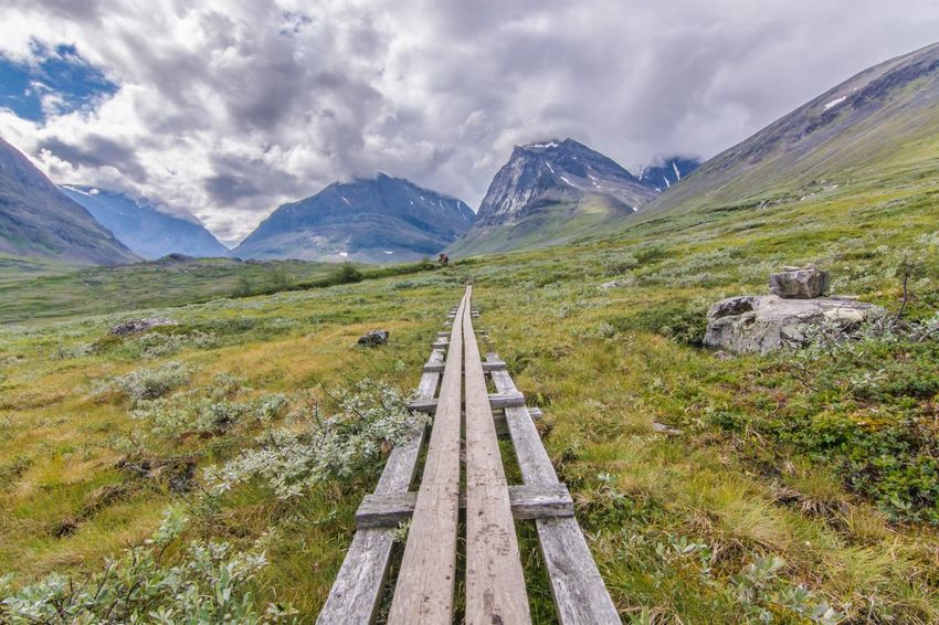 Mountain Sky Beauty In Nature Nature Scenics Landscape Day Outdoors No People Cloud - Sky Sweden Mountain Range Travel Lifestyles Hiking Nature Fjallravenclassic Lappland Path