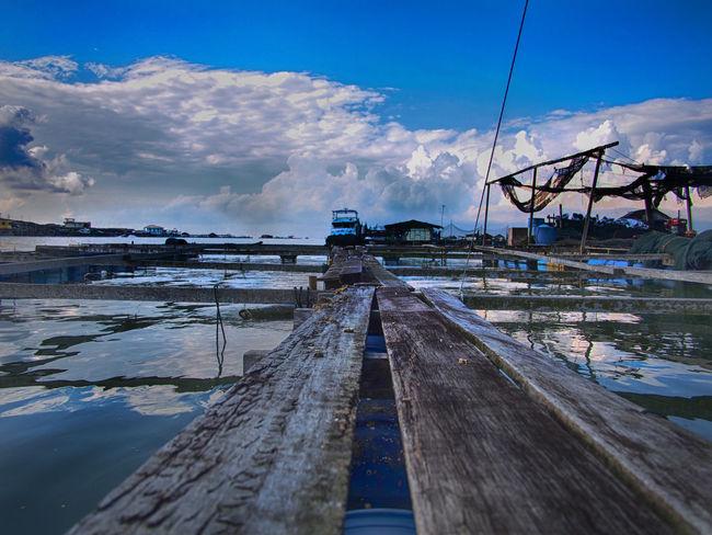 Blue Sky And Clouds Kelong Kukup Kukup, Malaysia Malaysia Sea