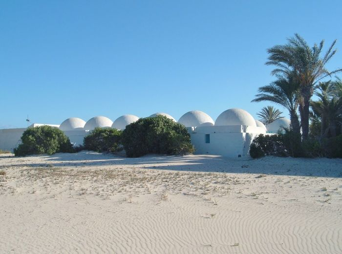 Architecture Blue Building Exterior Built Structure Circle Clear Sky Copy Space Day Desert Distant Exploring Holiday Incidental People Outdoors Round Running Shape Sphere Trip Tropical Climate