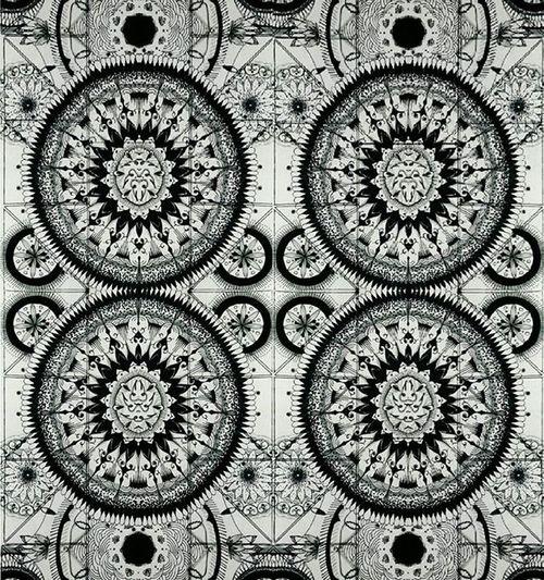 Art Mandala Mehendi Mirror Ornament Circles Drawing Pen Black White Gray Four Tringle