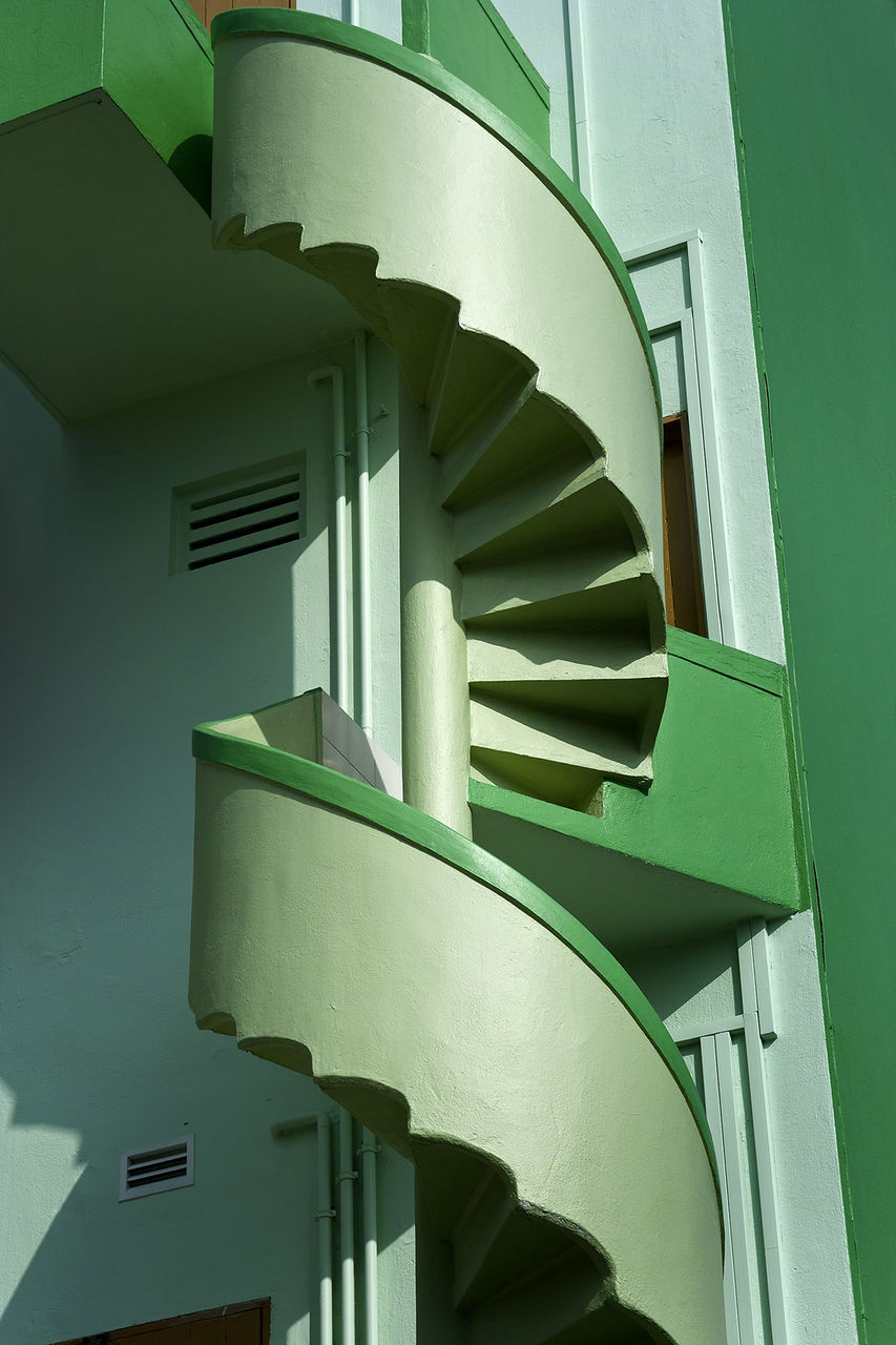 architecture, built structure, no people, staircase, building exterior, steps and staircases, low angle view, day, outdoors