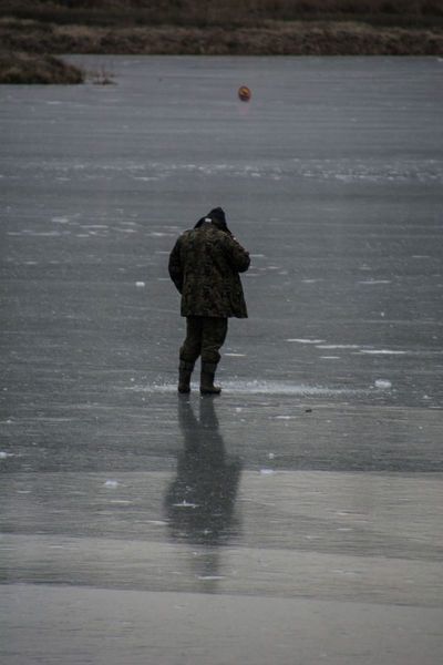Angler Ice Winter Day Fisherman Full Length Men Nature Outdoors People Real People