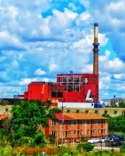 Factory Cloud - Sky Red Building Exterior Industry Art Is Everywhere Eyemphotography EyeEm Vision Amatuer Photographer EyeEmNewHere Chicago Factory Factory Building Art Of Visuals Architecture Blue Sky Nature Smoke Stack Built Structure Outdoors Exploring Illinois Bright Colors Industrial Industrial Photography Sky EyeEm Selects