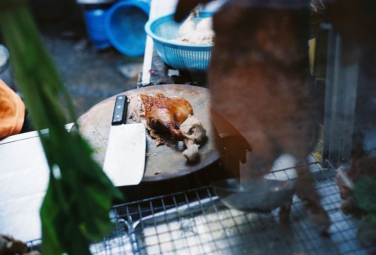 Close-up of crab on barbecue grill