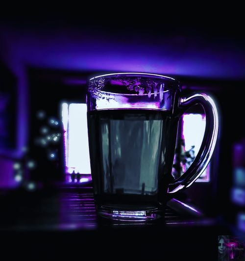 Drink Drinking Glass Illuminated Purple Close-up Food And Drink