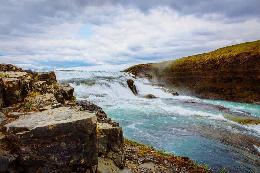 Gulfoss Iceland Wave Splashing Water Tempest Rocks Sky Winter Cool Tones Bright North EyeEm Selects Water Rock - Object Cloud - Sky Nature Beauty In Nature No People Outdoors