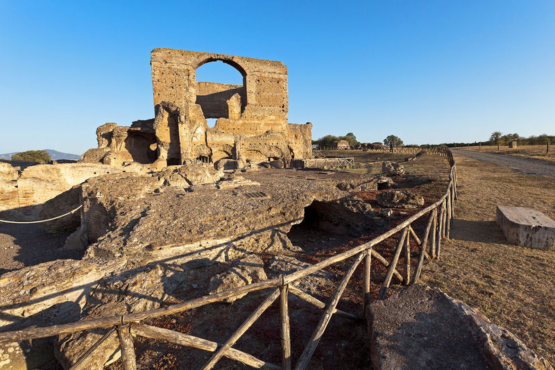 Famous Villa dei Quintili, archaeological site of Rome. Roman villa of the first half of the 2nd century. Archeology Abandoned Ancient Ancient Civilization Architecture Built Structure Clear Sky Damaged Day History No People Old Ruin Outdoors Sky Travel Destinations Villa Dei Quintili