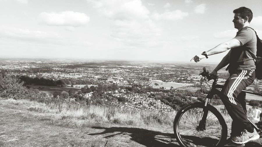 Look here! Better Look Twice Cycling Cyclist Cycling Around Malvern Hills Worcestershire Uk Hillside Fine Art Photography