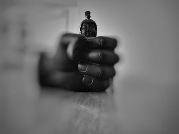 Indoors  Sculpture Hand Buda Warrior Blackandwhite