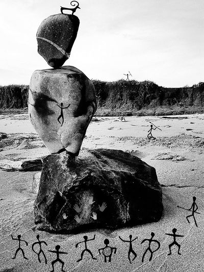 Stoneage Rockart Black And White Photography