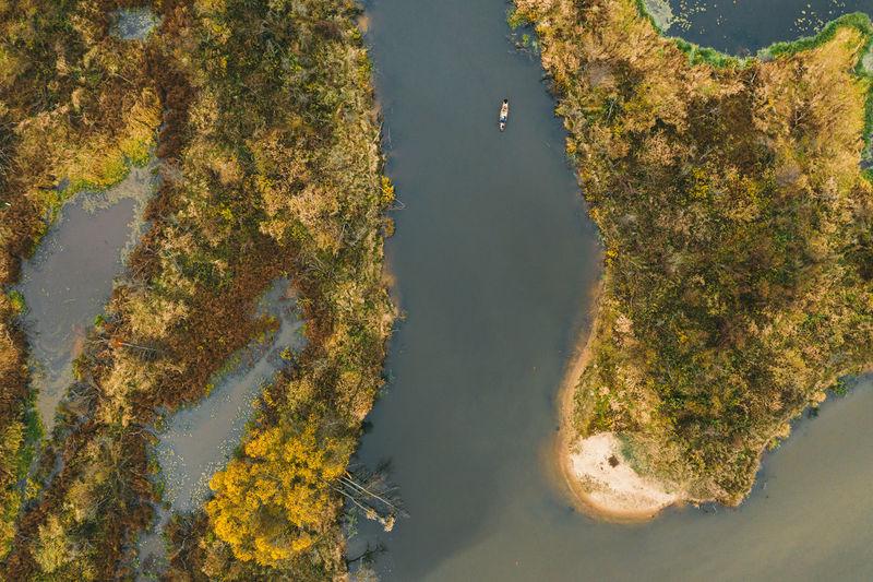 Kayak trip along the river. autumn landscape.