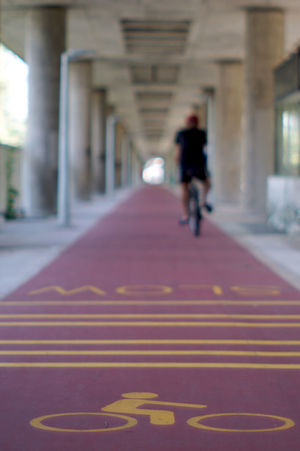 Vanishing point bicycle track. Architecture Bicycle Track Day One Person Outdoors People Perspective Photography Vanishing Point