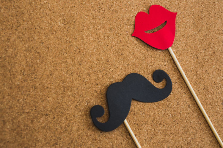Lipstick Movember November Art And Craft Brown Close-up Copy Space Creativity Day Emotion Father Heart Shape High Angle View Indoors  Land Love Mustache Nature No People Paper Positive Emotion Red Sand Single Object Valentine's Day - Holiday