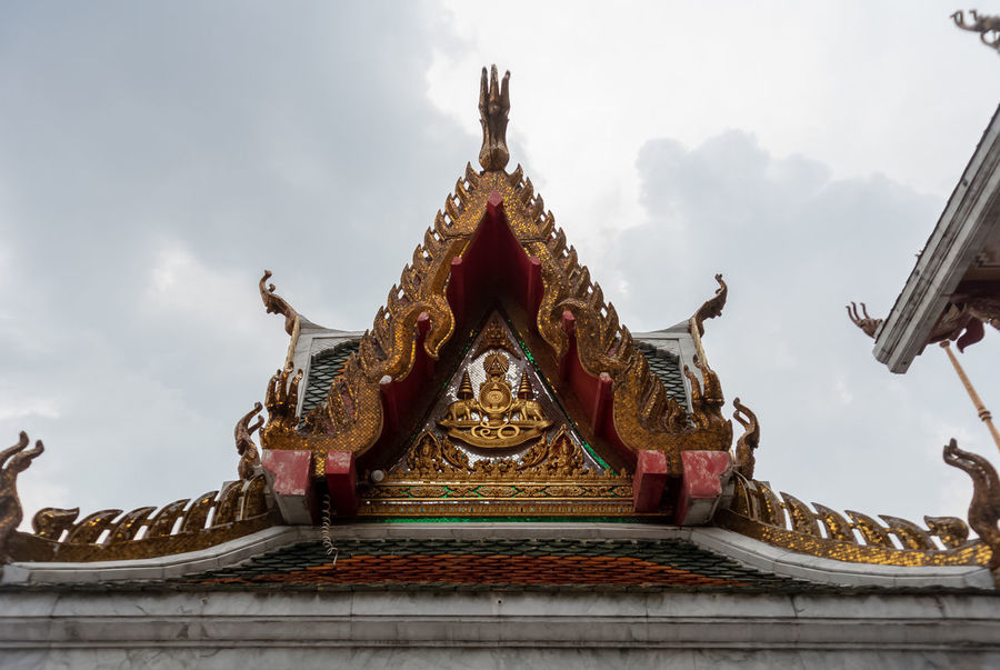 Bangkok Hua Lum Phong Thai Temple Architecture Art And Craft Belief Building Built Structure Cloud - Sky Day Gilded Gold Colored Isosceles Low Angle View No People Ornate Outdoors Place Of Worship Rama 9 Religion Representation Sculpture Sky Spirituality
