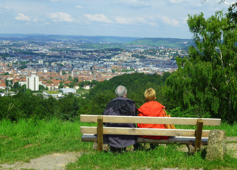 View over Stuttgart Architecture Bench Built Structure Cityscape Landscape Lifestyles Looking At View Relaxation Sitting People Together Hidden Gems