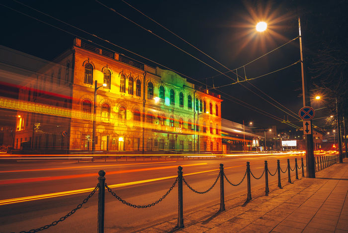 Colorful building. Lights festival City Lietuva Architecture Building Exterior Built Structure Cable City Colorful Connection Illuminated Light Trail Lights Festival Long Exposure Night No People Outdoors Railing Sky Street Light Transportation