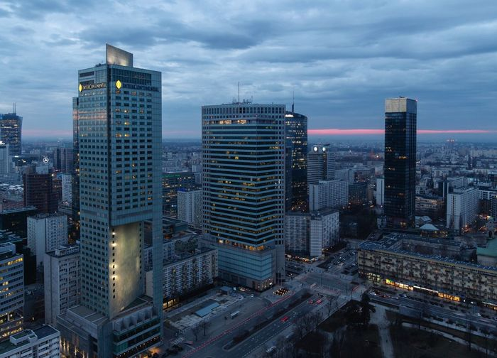 Wide Warsaw Aerial View Blue Sky Blue Hour Cloud - Sky Clouds Moody Sky Cityscape cityscapes City Life Working Hard City Street EyeEm Best Shots Wide Angle Check This Out Taking Photos Travel Photography City Cityscape Urban Skyline Illuminated Modern Skyscraper Sunset Downtown District Business Finance And Industry High Street Elevated Road Road Intersection Financial District  Light Painting