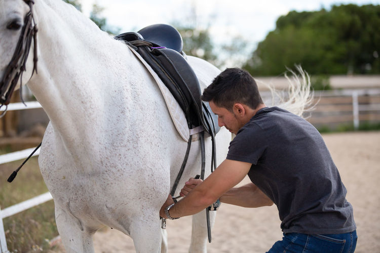 Rear view of man with horse in ranch