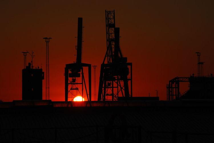 Industry Sunrise Harbor Aarhus, Denmark Summer Sunrise Morning