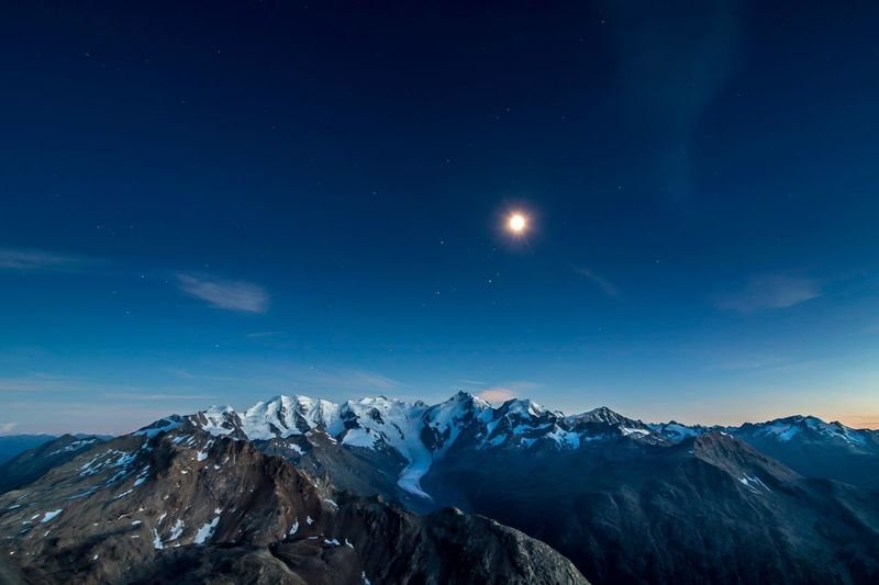 Fullmoon over Bernina Glacier Engadine Switzerland Beauty In Nature Mountain Range Mountain Peak