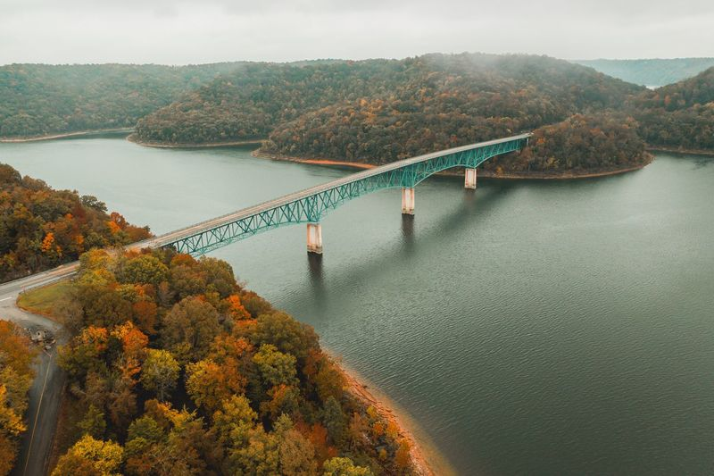 High angle view of bridge over river during autumn