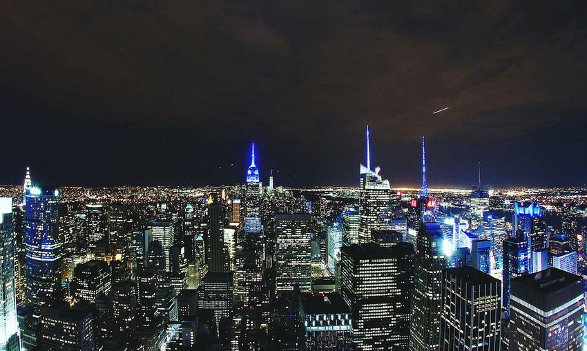 The lights of New York City at night. Cityscape Skyscraper Travel Destinations Urban Skyline Night Sky City Outdoors Architecture
