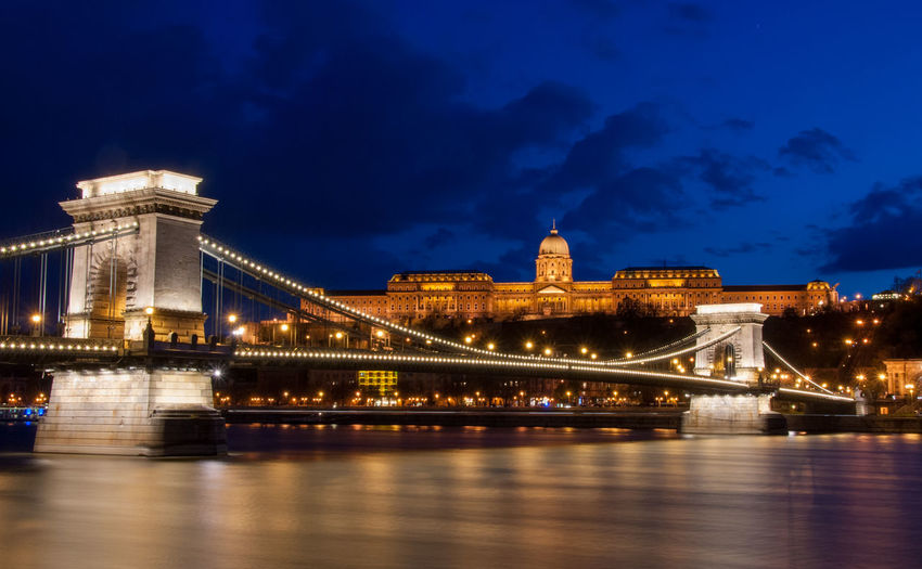 Royal palace or the buda castle and the chain bridge after sunset idanube river in budapest hungary.