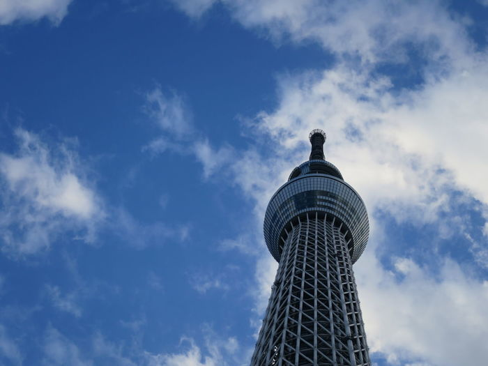 Low angle view of tokyo sky tree against cloudy sky