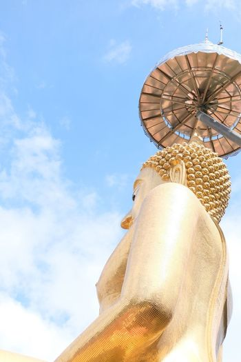 EyeEm Selects Belive Statue Low Angle View Sky Cloud - Sky Sculpture Human Representation Day No People Travel Destinations Outdoors Architecture Built Structure Tample Thailand Thailandtravel Thai Temple